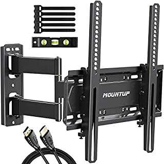 """MOUNTUP Full Motion TV Wall Mount Bracket for 26-55 Inch TVs with 19.6"""" Extension, TV Mount with Tilt, Swivel and Rotation up to 60LBS VESA 400x400mm - Easy Single Stud Install, MU0011"""