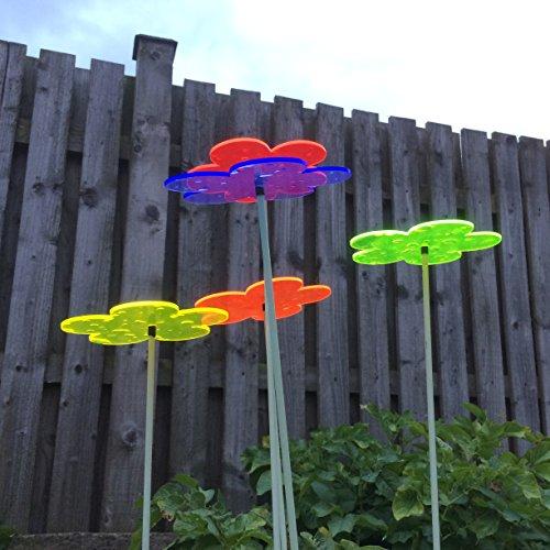 Suncatcher Set of 5: Blossom | 150mm / 5,9'' Ø Fluorescent Garden Ornament | Glowing Garden Decoration on Stick | Innovative Home Decor for Outdoor Garden Balcony Pathway Patio, Colour:All 5 Colours