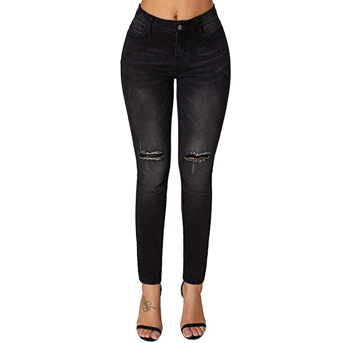 30def2b3cd8 Hellomiko Pantalones Vaqueros Rotos para Mujer Pantalones de Mezclilla  Negros elásticos Rectos y de Talle Alto  Amazon.es  Ropa y accesorios