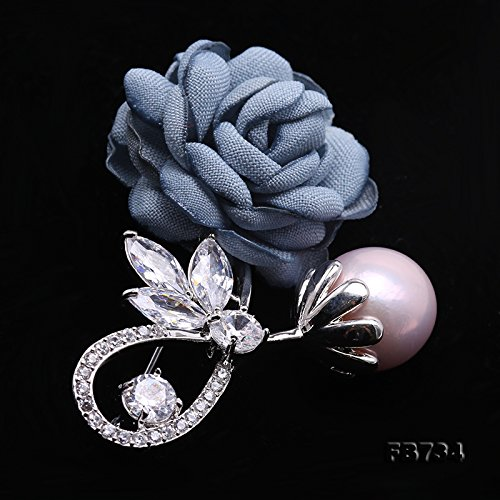JYX Rose-style Brooch Round Lavender Freshwater Pearl Brooch Pin by JYX Pearl (Image #5)