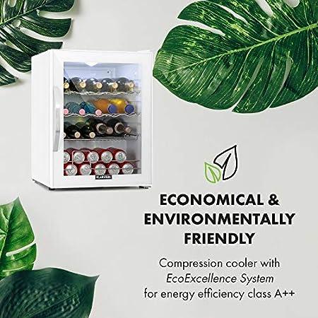 Klarstein Beersafe XL Quartz - Refrigerador de bebidas, Nevera, 60 litros de capacidad, Eficiencia energética de clase D, Puerta frontal de vidrio, Iluminación interior, Diseño compacto, Blanco[Clase de eficiencia energética D]