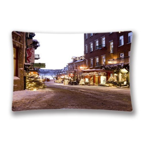 christmas town Pillow Case Cover Queen King Size 2017 Pillow Protector 20x36inch(Twin Sides)with Hidden Zipper ()