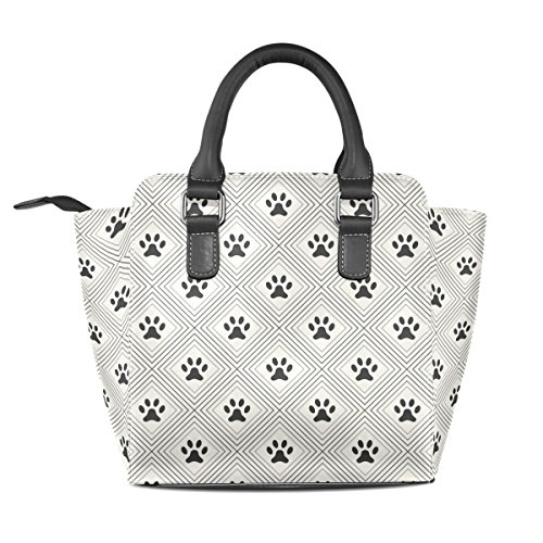 Bags Cats Tote Handbags Footprints Shoulder Leather Paws Dogs Women's TIZORAX xHTqWwfZ88