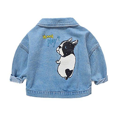 KINDER365 Little Big Girls Embroidered Denim Jackets Coats Outwear Elegant Dog Pattern Jean Jacket by KINDER365