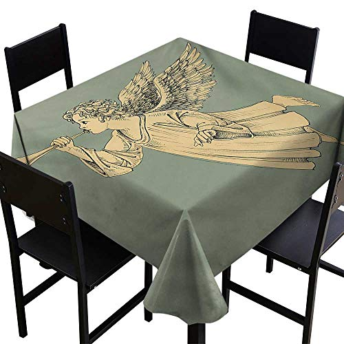 - All of better Christmas Kitchen Table Cover Flying Christmas Angel with Wings Playing Trumpet Mythological Ancient Artwork 60 inch Square Tablecloth Yellow Mint