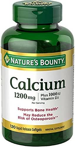 Nature's Bounty Calcium Carbonate Pills and Vitamin D3 Mineral Supplement, Supports Bone Strength and Health, 1200mg, 120 Softgels