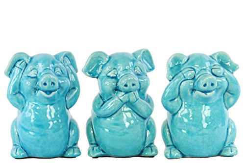Urban Trends Ceramic Standing Pig No Evil (Hear/Speak/See) Figurine with Gloss Finish (Assortment of 3), Turquoise