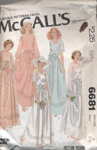 Vintage 1979 McCalls Wedding Bridesmaids Dress Sewing Pattern 6681