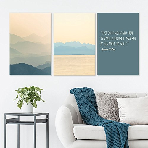 3 Panel Mountains and Sea in The Fog with Inspirational Quotes Gallery 16 x24 x 3 Panels