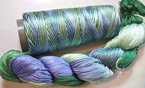Silk Lace Yarn - 100% Pure Reeled Mulberry Silk Cobweb Lace Yarn 50 gm 400 Yard Skein Alpine Lake Lot L Cone or Hank