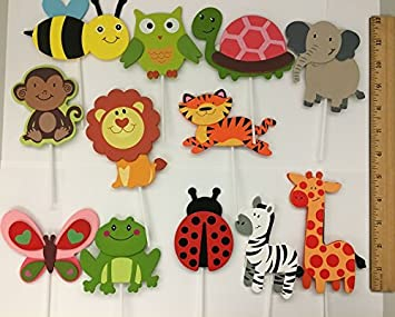 Wooden Safari Animal Cutouts Jungle Theme Large Cupcake Toppers Set Of 12
