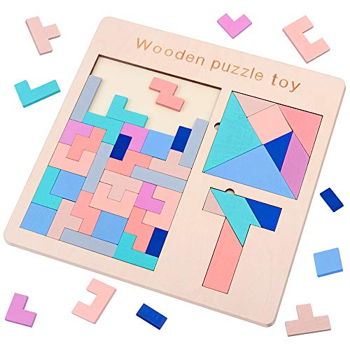 (D-FantiX 3 in 1 Wooden Tetris Puzzle Tangram Puzzles T Jigsaw Intelligence Puzzle Game Iq Brain Teasers Blocks Fun Children Educational Toys for)