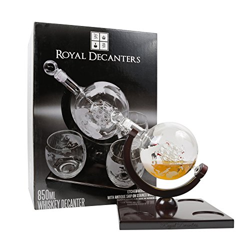 Etched-Globe-Whiskey-Decanter-Set-They-Will-Love-this-Gift-Includes-4-Glasses-Large-Glass-Beverage-Drink-Dispenser-also-for-Brandy-Tequila-Bourbon-Scotch-Rum-Alcohol-Related-Gifts-for-Dad-850ML