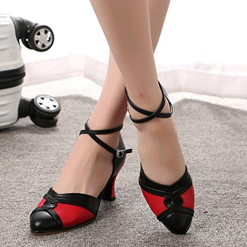 Miyoopark Womens Cinturino Alla Caviglia Cinturino In Pelle Comfort Scarpe Da Ballo Latino Tango Tacco Nero / Rosso-7cm