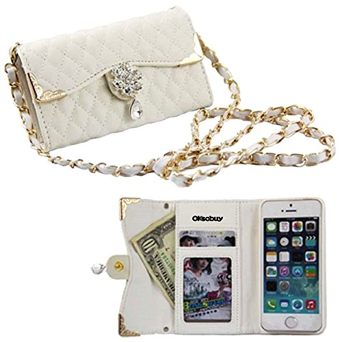 OkSoBuy® Apple iphone 5G 5S case,PU Leather Wallet Backpack,Glitter Diamond Plaid Sheep texture Flowers Rhinestone Credit Card Holder Slots For Apple iphone 5S 5 ()