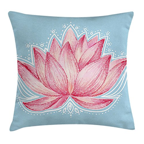 vhg8dweh Lotus Decor Throw Pillow Cushion Cover, Gardening Theme Illustration of a Lotus Flower Pattern Decorative Design, Decorative Square Accent Pillow Case, 18 X 18 Inches, Pink Light Blue