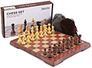 KIDAMI Folding Magnetic Travel Chess Set with 2 Portable Bags for Pieces Storage, Lightweight for Easy Carrying (12.4 x 10.6