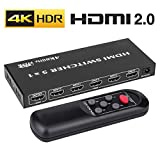 4K HDMI 2.0 Switch 5x1, ROOFULL 5 In 1 Out HDMI Switch 4K 60Hz HDR Dolby Vision HDCP 2.2 3D 1080P Switcher with IR Remote for PS4 Pro, UHD TV, XBox One/360, Apple TV (5 Ports)