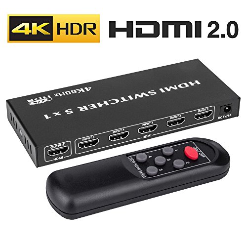 ROOFULL 5x1 HDMI 2.0 Switch Switcher 4K HDR HDCP 2.2 with IR Remote, Support UHD 4K 60Hz (60 fps) 4:4:4 18Gbps / 3D / 1080P / Dolby / DTS 7.1/5.1 for HDTV, PS3/4 Pro, Xbox, Roku, Apple TV [5 In 1 Out]