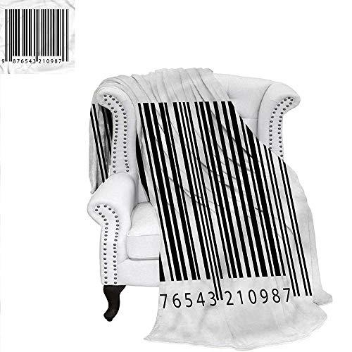 RenteriaDecor Striped Digital Printing Blanket Barcode Symbol Background Custom Design Cozy Flannel Blanket 62
