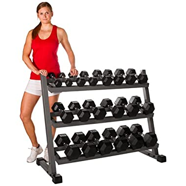 XMark's 550 lb. Hex Dumbbell Set and Rack COMBO Includes Our Top Rated Premium Rubber Hex Dumbbells (10 pair) and Our Best Selling Deluxe Three Tier Rack with Tilted Shelves (XM-4439)