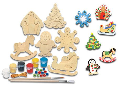 amazoncom masterpieces works of ahhh pack ornaments wood paint kit toys games - Wooden Christmas Ornaments To Paint