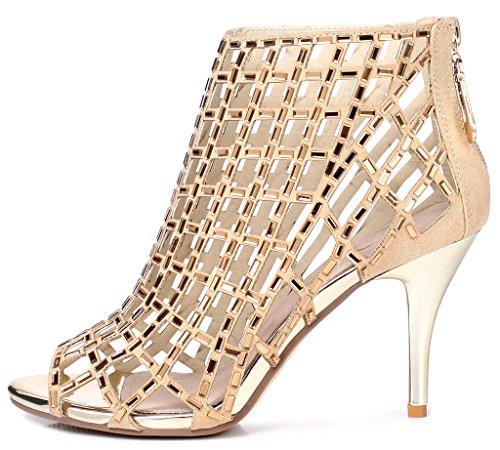 Lizform Donna Ritaglio Sandalo Stivali Open Toe Con Borchie Sandali Stiletto Abito Scarpe Tacchi Oro