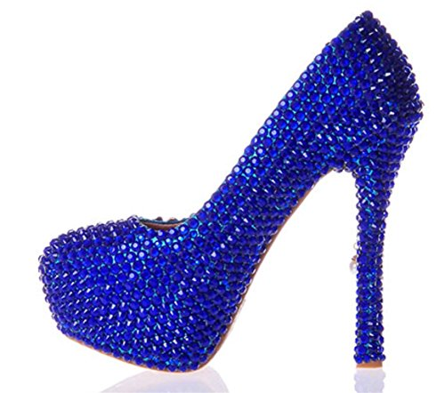 MNII Womens Crystal Rhinestones Pearl Bride Bridesmaids Court Shoes Wedding Party Evening Platforms High Heel, 41, 14cm Blue- Good Quality