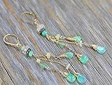 Long Thin Natural Real Opal Cascade Earrings Aqua Green Pave Diamonds
