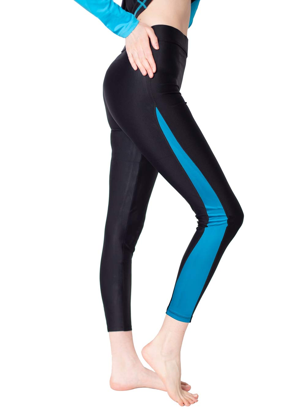 Women Ankle Length Swim Tights Blue S by Scodi
