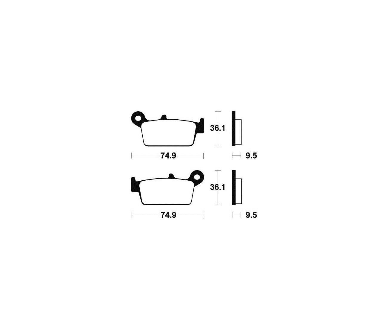 YAMAHA YZ 125 250 YZF WRF 250-400-426-PLAQUETTES DE FREIN ARRIERE TECNIUM-MO104