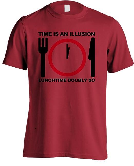 Autoestopistas de la guía del Galaxy - tiempo es una Illusion por lo que  hora del almuerzo diseño de cita en inglés T-diseño de camiseta de  doblemente  ... 12259c606409c
