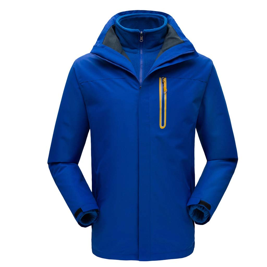 iLXHD Men Winter Hooded Softshell Windproof Waterproof Soft Coat Shell Jacket C257 Blue by iLXHD