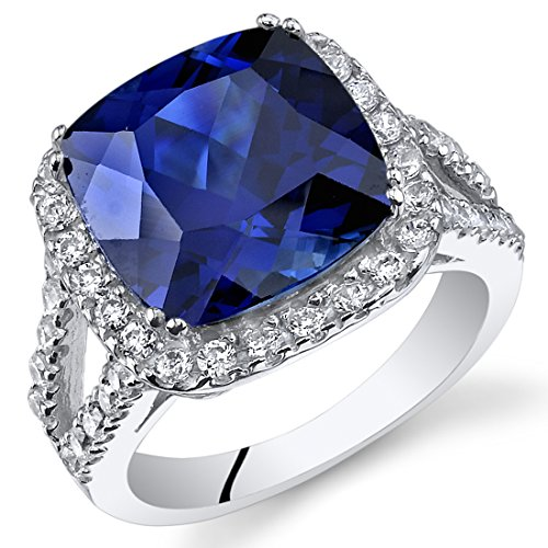 7.75 Carats Cushion Cut Created Blue Sapphire Ring Sterling Silver Size 7 ()