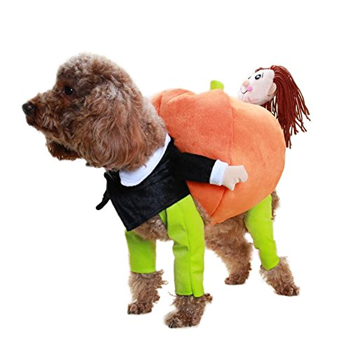 Patgoal Dog Carrying Pumpkin Costume Clothes with Doll for Halloween Christmas Party Day (Uniqe Halloween Costumes)