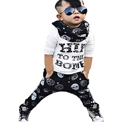 2017 New 1Set Infant Toddler Baby Boys Long Sleeve T-shirt Tops+Pants Outfits Clothes (12M, White) (Thanksgiving Outfit For Baby Boy)