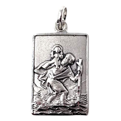 Medalla-colgante-plata-Ley-925m-maciza-26mm-San-Cristobal-rectangular-detalles-tallados-trasera-lisa