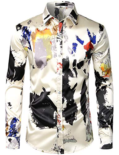 ZEROYAA Men's Hipster Splash Ink Design Slim Fit Silk Like Satin Dress Shirt ZLCL12-Beige Medium
