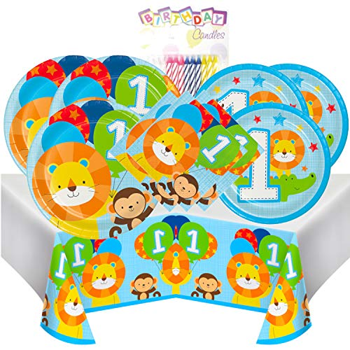 One is Fun Boy 1st Birthday Themed Party Pack - Includes 24 9