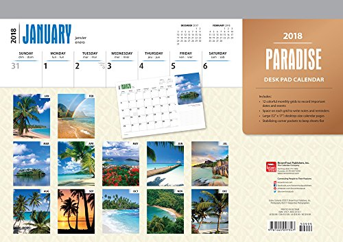 Paradise 2018 17 x 12 Inch Monthly Desk Pad Calendar, Scenic Travel Nature Tropical