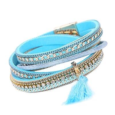 Sunfei ®Women Bohemian Bracelet Woven Braided Handmade Wrap Cuff Magnetic Clasp