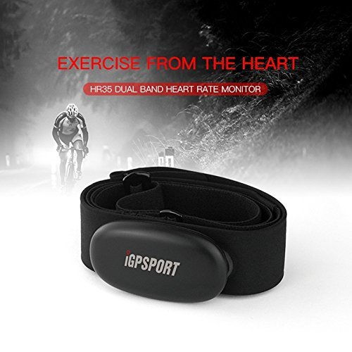 iGPSPORT HR35 Heart Rate Monitor Sensor for Fitness Tracker,Support Bluetooth & ANT+ (Soft Chest Strap)