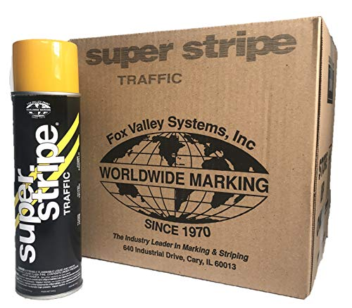 Fox Valley Super Stripe Traffic Inverted Aerosol Spray Paint (1-Case/12-Cans) (Yellow)
