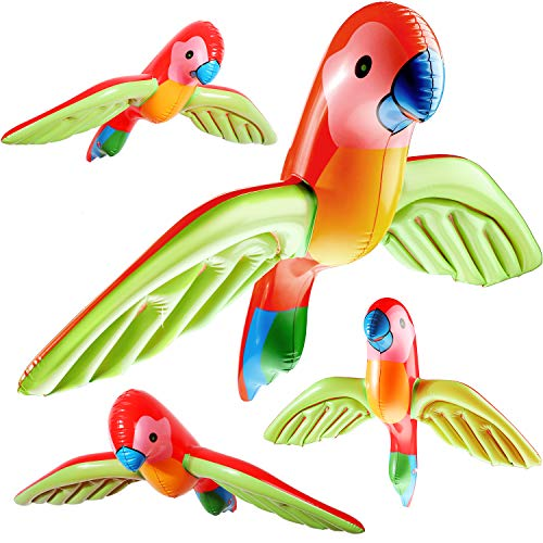meekoo 4 Pieces Inflatable Flying Parrot Inflatable Parrot Decorations for Tropical Party Gift Luau Decoration (Style 1) ()