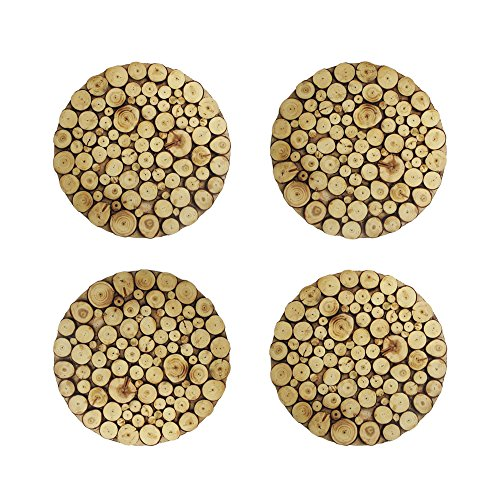 ChargeIt by Jay 1330462-4 Wooden Discs Charger Plate, Natural ()