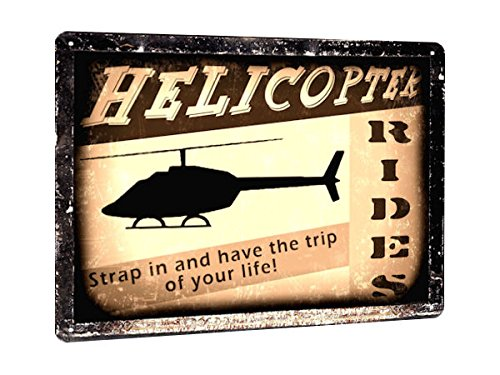 HELICOPTER model rides METAL SIGN remote FLYING lessons VINTAGE style retro 201