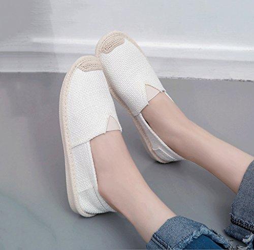 lona los Tama de los zapatos blanco manera de calza 35 ocio o Color aire planos zapatos de El zapatos tablero los al la Blanco Blanco del libre de respirables 6AWPO