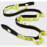 Durable Cotton Yoga Stretching Exercise Strap Band with Multiple Grip Loops (black&yellow)