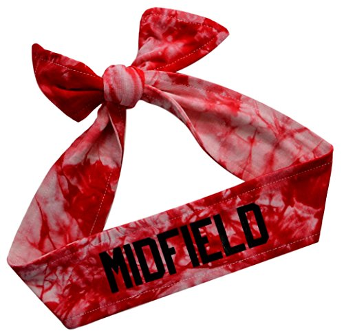 Funny Girl Designs Tie Back Sport Headband with Your Custom Team Name or Text in Vinyl (RED TIE DYE, 1 Headband)