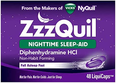 Vicks ZzzQuil Nighttime Sleep Aid Liquidcaps, 48 ct, Non-Habit Forming, Fall Asleep Fast and Wake Refreshed
